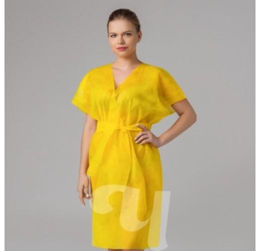 Халат-кимоно без рукавов Желтый
